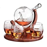 Etched World Decanter whiskey Globe - The Wine Savant Whiskey Gift Set Globe Decanter with Antique Airplane, Whiskey Stones and 4 World Map Glasses, Pilot Gift - Alcohol Related Gift, HOME BAR DECOR