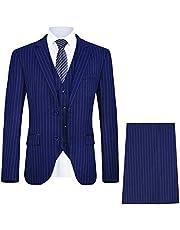 طقم ملابس رجالي 3 قطع مخطط من MAGE MALE ضيق أنيق واحد الصدر لحفل زفاف سترة وبنطلون