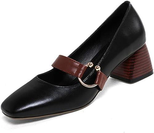 FLYSXP Chaussures pour Femmes rétro Talons Talons Hauts tête carrée Mary Jane Chaussures littéraire Sauvage Occasionnels Chaussures de Travail Chaussures Professionnelles 34-39 Verges Chaussures Femme  Découvrez le moins cher