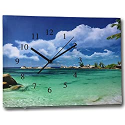 BANBERRY DESIGNS Beach Clock - Canvas Wall Print Clock - Ocean Scene on a Gallery Stretched Canvas
