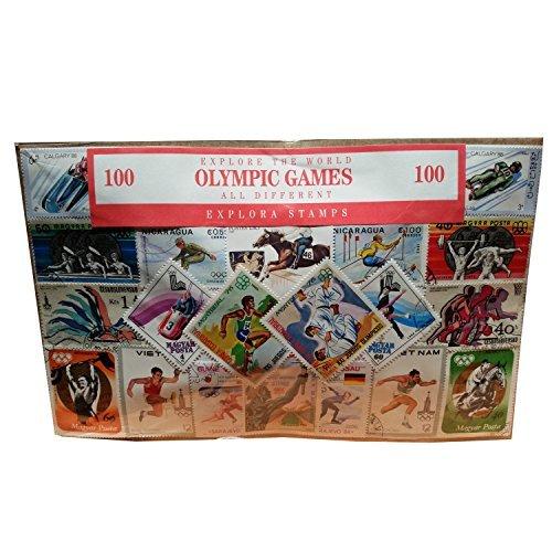 Historische Olympischen-Stamp Collection., Winter und Sommer Olympische Souvenir/Speicher/MEMORIA. Collectible Briefmarken aus der ganzen Welt. Alle verschiedene, 100klare Briefmarken. Timbre/Stempel/francobollo/Sello (Einkaufszentrum).