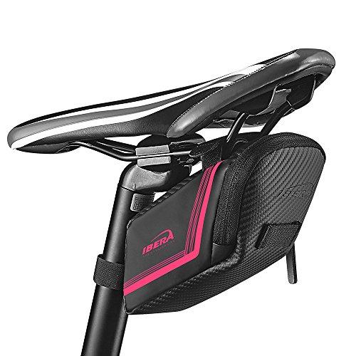 Ibera Fahrradsatteltasche, Satteltasche, Fahrradtasche für Rennrad und andere Fahrräder (Rosa)