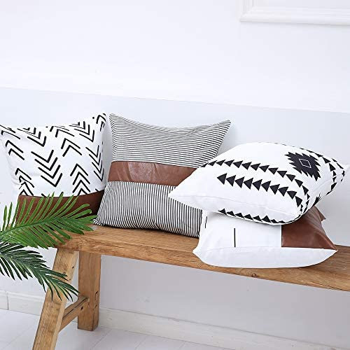 Kiuree Boho Throw Pillow Covers 18x18 Faux Leather Pillows Set of 4 Outdoor Mudcloth Modern product image