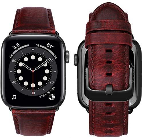 MroTech Compatibile con Apple Watch 44 mm 42 mm Cinturino Vera Pelle Banda di Ricambio per iWatch SE/Series 6/Serie 5/4/3/2/1 Cinturini con Fibbia Nera Bracciale Sostituzione 42mm/44mm Classic Rosso