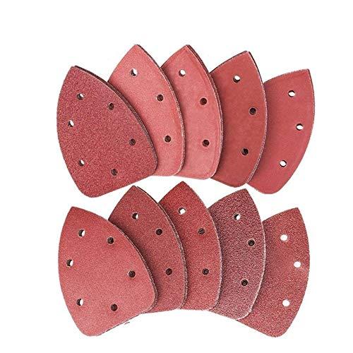 Schleifteller, 80pcs Aufkleben Schleifscheiben Pads Klettschleif Triangle-Pads 40 60 80 100 120 150 180 240 320 400 Grits XIAO DIAO (Farbe : Red Brown)