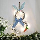 Decorazioni pasquali con luci, a forma di coniglietto, ghirlanda decorativa da parete in rattan, decorazione da parete