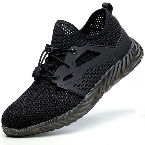 SUADEEX werkschoenen mannen S3 lichtgewicht veiligheidsschoenen vrouwen sportieve stalen pet trainers ademende onverwoestbare schoenen zwart Grootte: 12.5 UK
