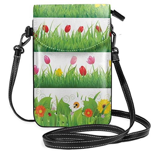 Women Small Cell Phone Purse Crossbody,Lawn Pattern Horizontal Design Floral Arrangement Nature Scenes Spring Season