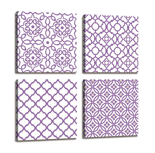 Large Wall Art for Bedroom Bathroom Wall Decor Purple Flower Pattern Canvas Prints Dining Room Decor Abstract Pictures Modern Boho Wall Art Framed Artwork for Walls Home Decor Size:14x14 in x 4 pcs