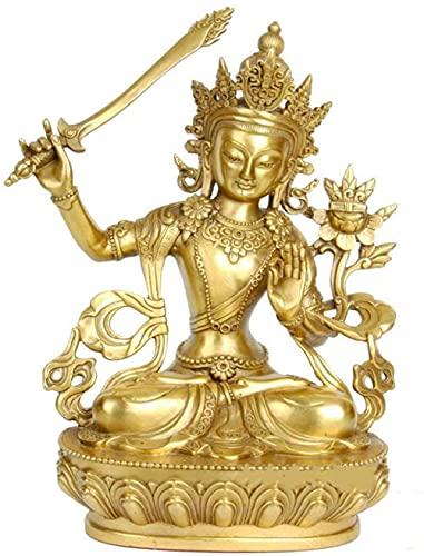 Gpzj Estatua de Buda Manjushri, Adornos de estatuilla, esculturas del Dios de la sabiduría de latón, Oficina en casa, decoración Religiosa, Regalo, joyería de latón