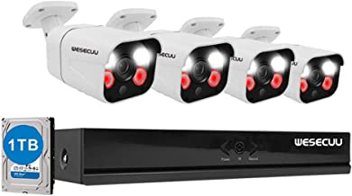 PoE Home Security Camera System,WESECUU 3MP 8CH Surveillance NVR System with 1TB Hard Drive,4PCS Outdoor PoE Cameras with ...
