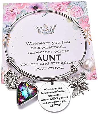 Miss Pink Mothers Day Aunt Bracelet Gifts Ideas from Nephew and Niece Silver Tone Auntie Charm Bangle for Women Meaningful Birthday Jewelry Presents for Sister Aunty