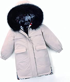 Fashion Black and White Big Fur Collar Boy Down Jacket, 2019 Winter New Korean Version of The Thickened Big Children in The Long Children's Jacket,White,150