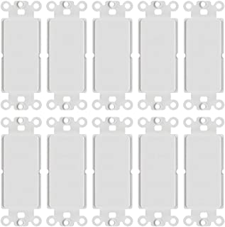 CMPLE – White Decora Wall Plate Insert Blank, 1 Gang Blank Outlet Adapter Insert Cover – (10 Pack)