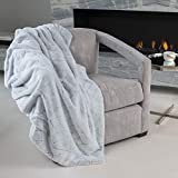 Faux Fur Throw Blanket by Mon Chateau - Luxury Diamond Weave Ultra Plush Reversible Blanket, Over-Sized 60' x 75' (Silver Grey)