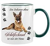 """"""" Ein Haus ohne Schäferhund ist nur ein Haus """" - Kaffeetasse mit Motiv, bedruckte Tasse mit Sprüchen oder Bildern"""