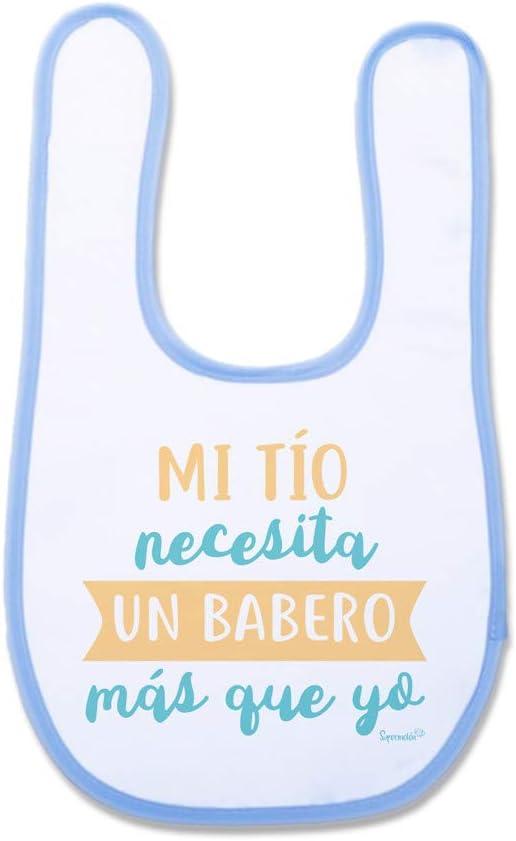 SUPERMOLON Babero beb/é Nacido para rodar Azul celeste con velcro
