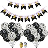 Featy Happy Birthday Banner and 30 Pcs Latex Paw Prints 12 Inch Balloons with 2 Pcs 10M Laser Gold/Silver Foil Ribbon for Birthday Party Decoration (Black and White)
