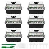 6 contenitori trasparenti in plastica, 12 fori, vassoio per semina, idratante e preservant...