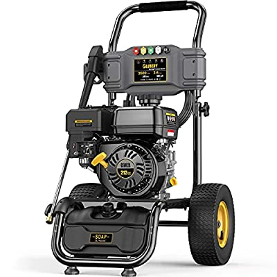 3500PSI Gas Pressure Washer, 2.6GPM Power Washer, 50FT Hose&Soap Container, 5 Adjustable Nozzles, Cleaning for Driveway/Concrete/Vinyl Fencing, CARB,Black