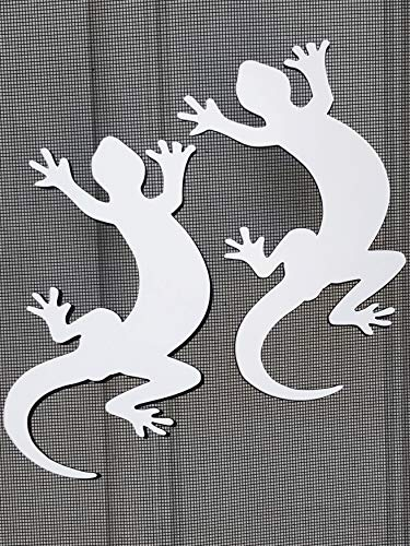 DCentral Two Geckos Flexible Screen Magnets: Double-Sided Decor; for Non-Retractable Screens, Multipurpose, Helps to Stop Walking into Screens, Covers Small tears in Screens. Size 4.2