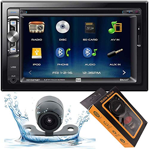 """Dual Electronics XDVD276BT 6.2"""" LCD Touch Screen Double Din Car Stereo with HD Camera + Gravity Magnet Phone Holder Bundle (XDVD276BT+XV20C+GMH)"""