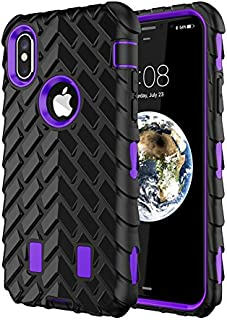 iPhone X Case,TACOO Dual Layer TPU+PC Heavy Duty Protective Durable Rugged Anti-Slip Grip [Shockproof Bumper] Cover for Apple iPhone 10 2017(Purple+Black)