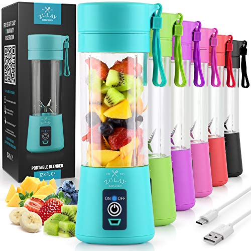 Zulay Portable Blender For Shakes And Smoothies - USB Rechargeable Portable Smoothie Blender Small For Travel - 13oz Capacity Personal Mini Blender Portable - Blue