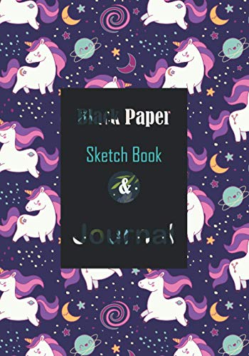 """Black Paper Sketchbook & Journal: Unicorn Notebook with Lined & Blank Pages For Boys Girls Kids 7""""x10"""" Sketch Book For Writing Doodling Sketching / Doodle Art Supplies Gift / Drawing Pads For Gel Pens"""