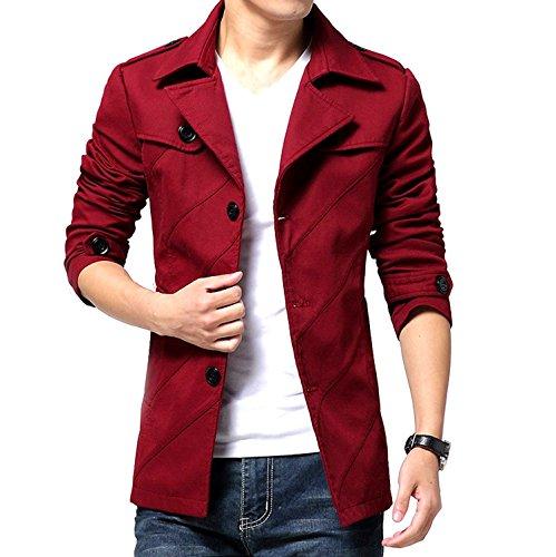 [ Make 2 Be ] テラード ジャケット スタイリシュ メンズ ジャケット コート アウター ビジネス カジュアル 裏地黒 無地 春 秋 冬 防寒 スリム から 大きいサイズ MA02 (22.ワインレッド_XLサイズ)