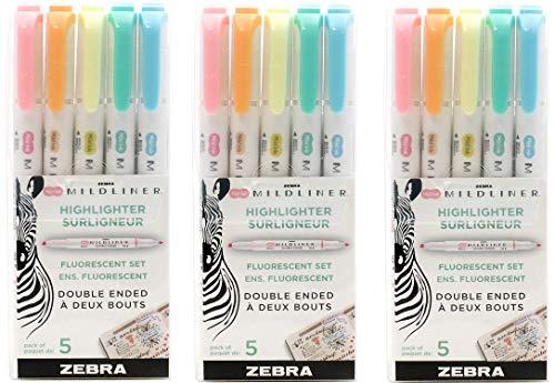 Zebra Pen Mildliner, Double Ended Highlighter, Broad and Fine Tips (Multicolors, 15 Pack)
