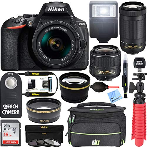 Nikon D5600 24.2MP DSLR Camera 18-55mm VR & 70-300mm ED Lens (Renewed) with 16GB Deluxe Bundle