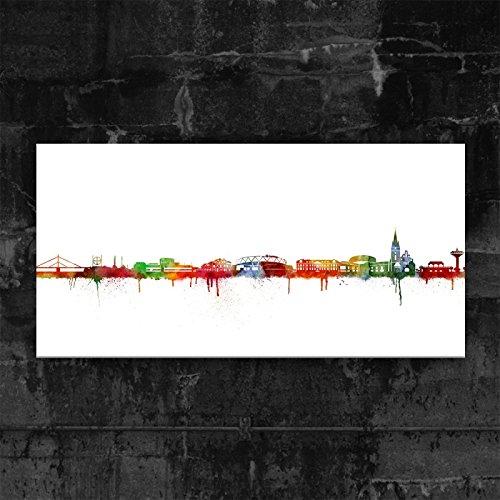 Kunstbruder Leverkusen Skyline - Light (div. Grössen) - Kunst Druck auf Leinwand 50x100cm