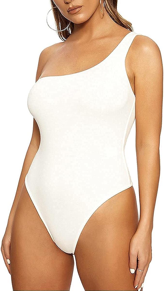 Women's Sexy One Shouler Sleeveless One Piece Bodysuit Basic Summer Leotard Tops