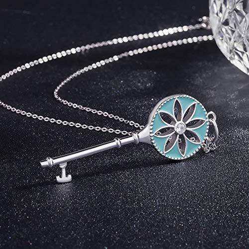 ERH Frauen Einfache Blumenfarbe Mode S925 Silber Zonnebloem Sleutel Lange Trui Kette Blauw Diamant Frauen Farbe Anhänger