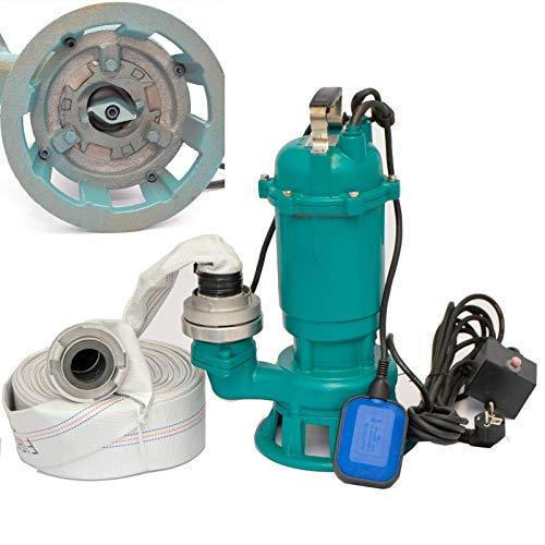 WEISBACH Fäkalienpumpe Tauchpumpe Schmutzwasserpumpe 1500W - 24000l/h Schneidmesser +20m C-Schlauch