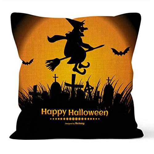 YEARGER Halloween Pillow Covers, Set of 4 Optional Halloween Throw Pillow Covers Farmhouse Cotton Linen Decorative Pillowcases Cushion -, 12x18in, 16x16in, 18x18 Inch,2PC*N,45 * 45cm