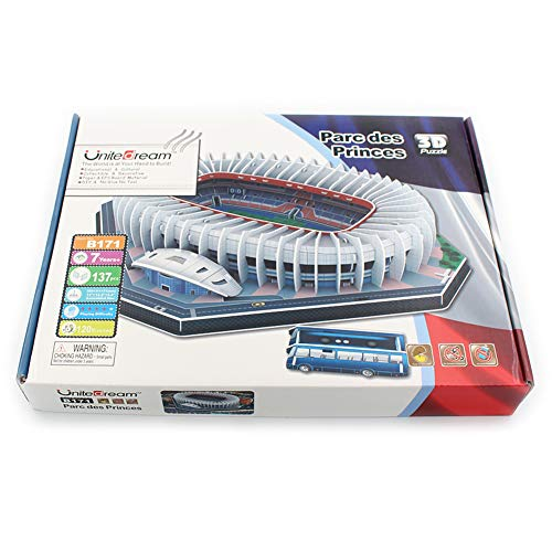 Kw-tool Paris Saint-Germain Prince Park Estadio DIY Puzzle Model, Juguetes educativos, Liga Francesa World Soccer Field 3D Puzzle