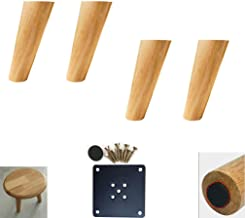 DX Pack van 4 eiken meubelpoten, schuine taps toelopende tafelpoten, houten voeten, bank vervangende benen, inclusief mont...