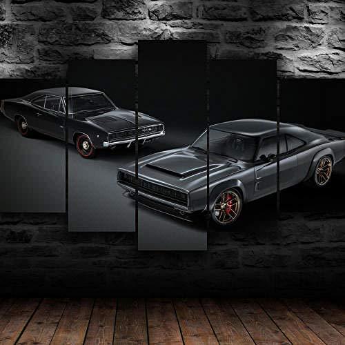 5 Teilig Bilder Leinwand,Leinwanddrucke 5 Stück,Leinwanddrucke Wanddekoratio 5 Teiliges Wandbild,Bilder Wohnzimmer Modern Mit Rahmen,3D Xxl Bilder,Wohnzimmer,150X80Cm 1968 Dodg Super Charger Car