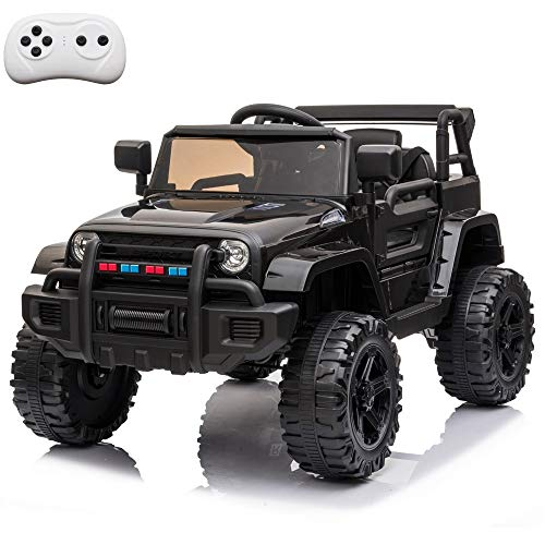 VALUE BOX Kids Ride On Truck 2.4G Remote Control, Kids Electric Ride-on Car 12V Battery Motorized Vehicles Age 3-5 w/ 3 Speeds, Spring Suspension, LED Lights, Horn, Music Player, Seat Belts (Black)