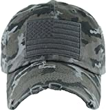 Distressed Vintage Patch Hat - American Flag (Black camo)