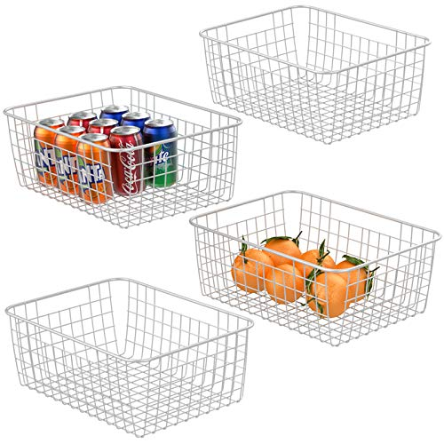 Wire Baskets For Storage iSPECLE Metal Wire Baskets Organizing Bins Storage Baskets with Handles for Kitchen Bedroom Cabinets Pantry Bathroom Laundry Room Closet Garage - 4 Pack