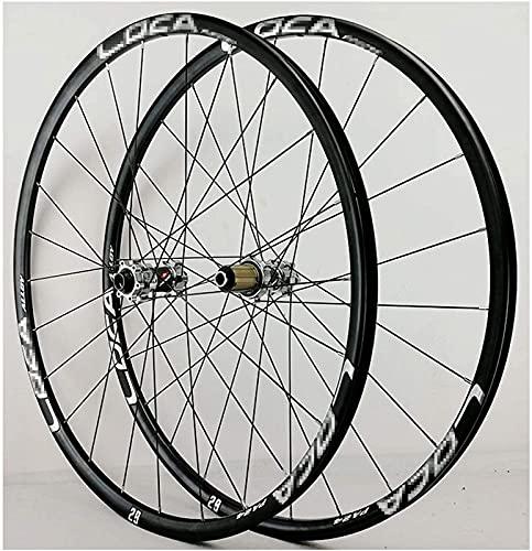 DPPAN Ruedas delanteras y traseras para bicicleta 26/27.5/29 pulgadas 700C llanta de aleación MTB bicicleta conjunto de ruedas 24H freno de disco 8-12 velocidades eje pasante, negro_27.5 pulgadas