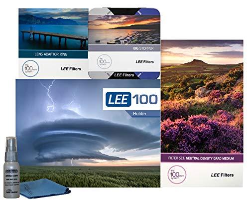 Lee Filters LEE100 77mm Scenic Starter Kit 1 - LEE Filter LEE100 Filterhalter, LEE 100 mm Medium Edge Graduated ND Filter Set, LEE 100 mm Big Stopper und 77 mm Weitwinkel-Adapterring