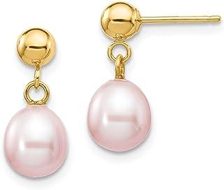 14k Yellow Gold 7mm Purple Rice Freshwater Cultured Pearl Drop Dangle Chandelier Post Stud Earrings Fine Jewelry For Women