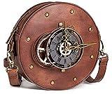 Bolsos de Mujer Gótico Steampunk Crossbody Bag Medieval Vintage Round Clock Gear Studs PU Bolso de Cuero Satchel Bucket Hombro Punk Bag