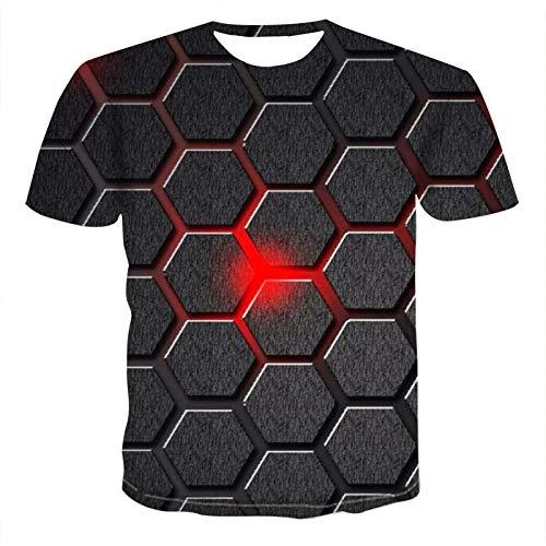 NSBXDWRM 3D Print T-shirt, uniseks, cool nieuw 3D-ruiten, geometrisch patroon, grafische print, T-shirts, zomer, korte mouwen, crewneck T-stukken, elegante tops