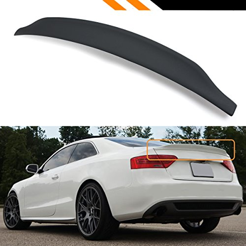 Cuztom Tuning Fits for 2008-2017 Audi A5 S5 RS5 B8 Cat Style High Kick Duckbill PU Primered Black Trunk Spoiler Wing