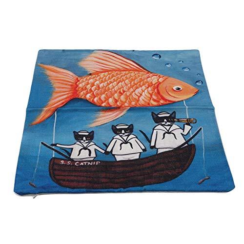 Ogquaton Funda de cojín de diseño de gato con dibujos animados para decoración de sofá, funda de almohada de peces grandes, resistente y práctica